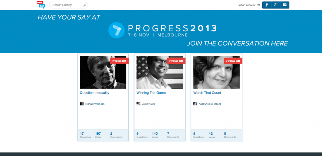 Our Say Progress 2013