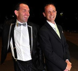 MARRIED AT MIDNIGHT Joel Player and Alan Wright who were due to marry in Canberra at 12.01am. (Photo: Melissa Adams)