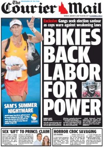 05/01/15 The Courier Mail  - Bikies Back Labor For Power