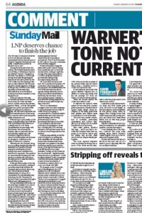 "25/01/15 The Sunday Mail backs Newman ""LNP deserves chance to finish the job"""