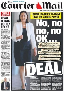 06/02/15 The Courier Mail -  No, no, no, no OK... Deal.