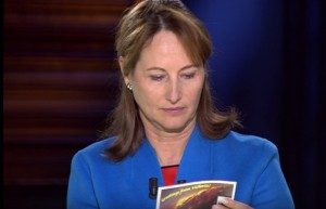 French Minister of Ecology Segolene Royal reading the Hazelwood postcard
