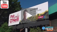 Ten Eyewitness News: No problems for Liberal Andie Hastie but Department of Defence tells Labor's Pat O'Neill to take it down.
